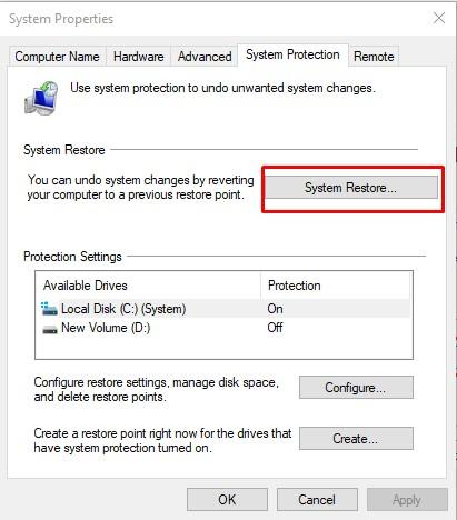 use restore point on windows 10