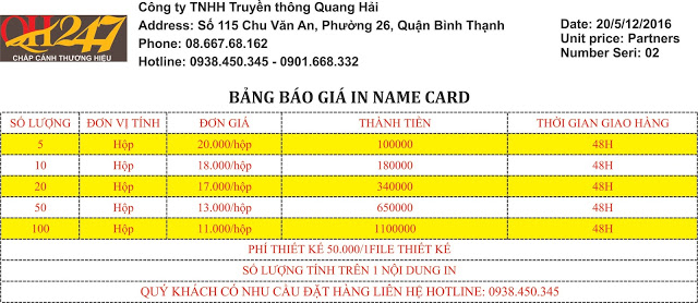 in name card quận 7
