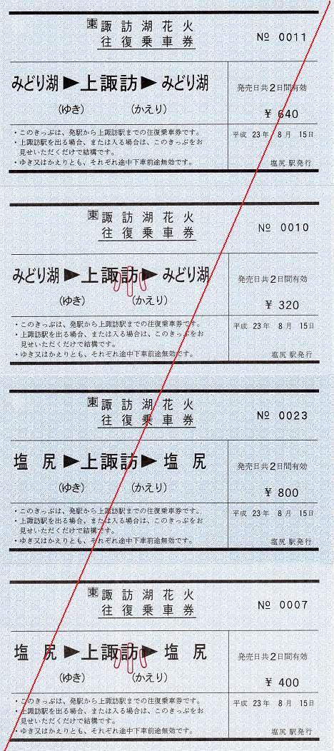 JR東日本 第63回諏訪湖花火往復乗車券1 常備券 軟券 みどり湖・塩尻駅