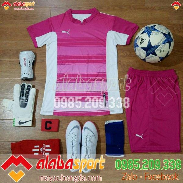 Áo bóng đá nữ không logo màu hồng xịn