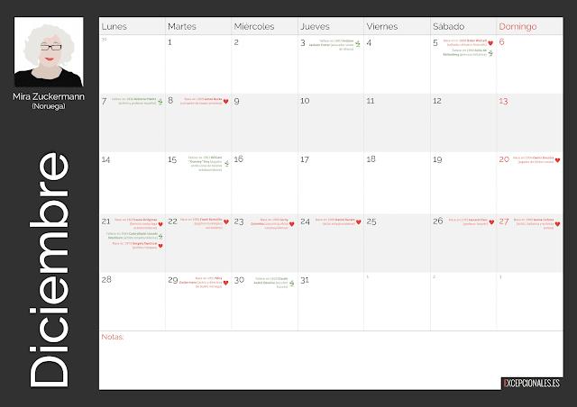 Calendario Excepcionales Diciembre 2020
