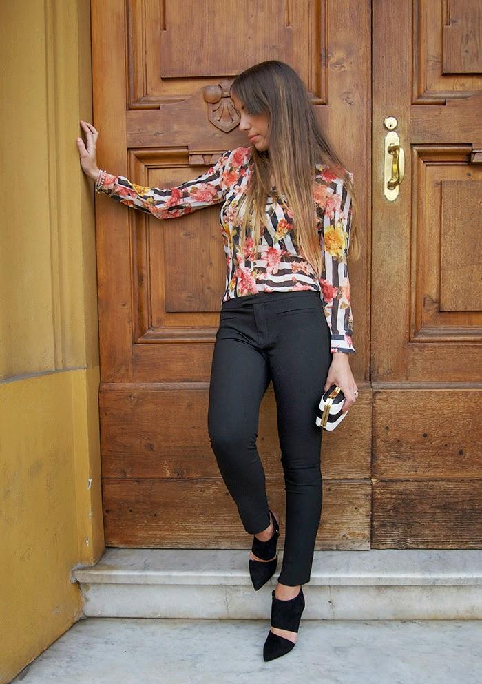 stripes + flower shirt