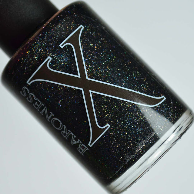 black holographic fluid art nail polish