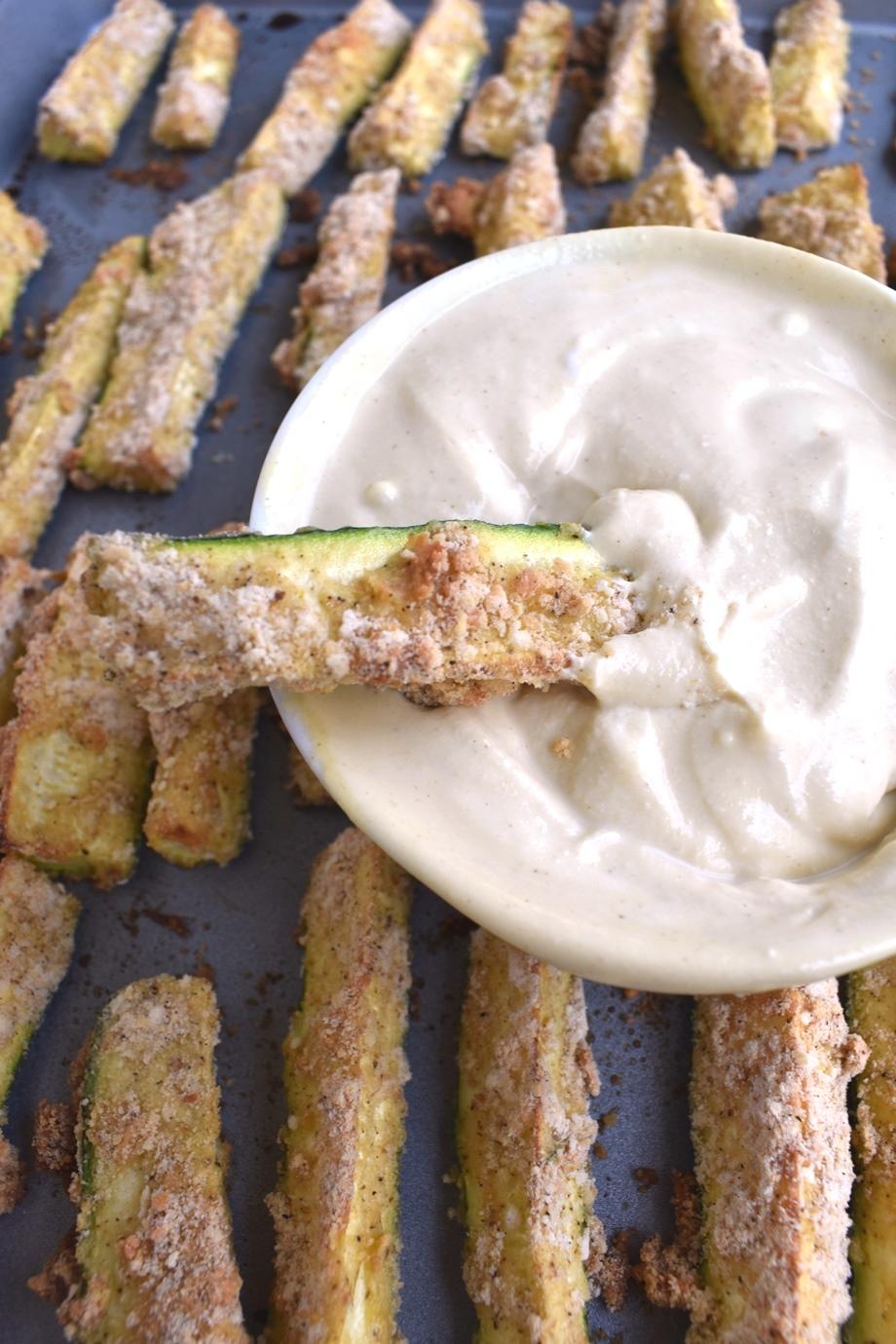 Breaded Zucchini Fries in Dijon dip