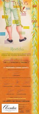 CARTEL TAURINO DE LA FERIA DE PEDRO ROMERO 2017 - RONDA