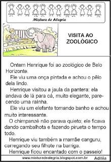 Leitura a visita ao zoológico 1º ano