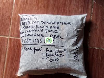 Benih Padi Pesanan  NUROKHIM Karawang, Jabar.  Benih Sesudah di Packing