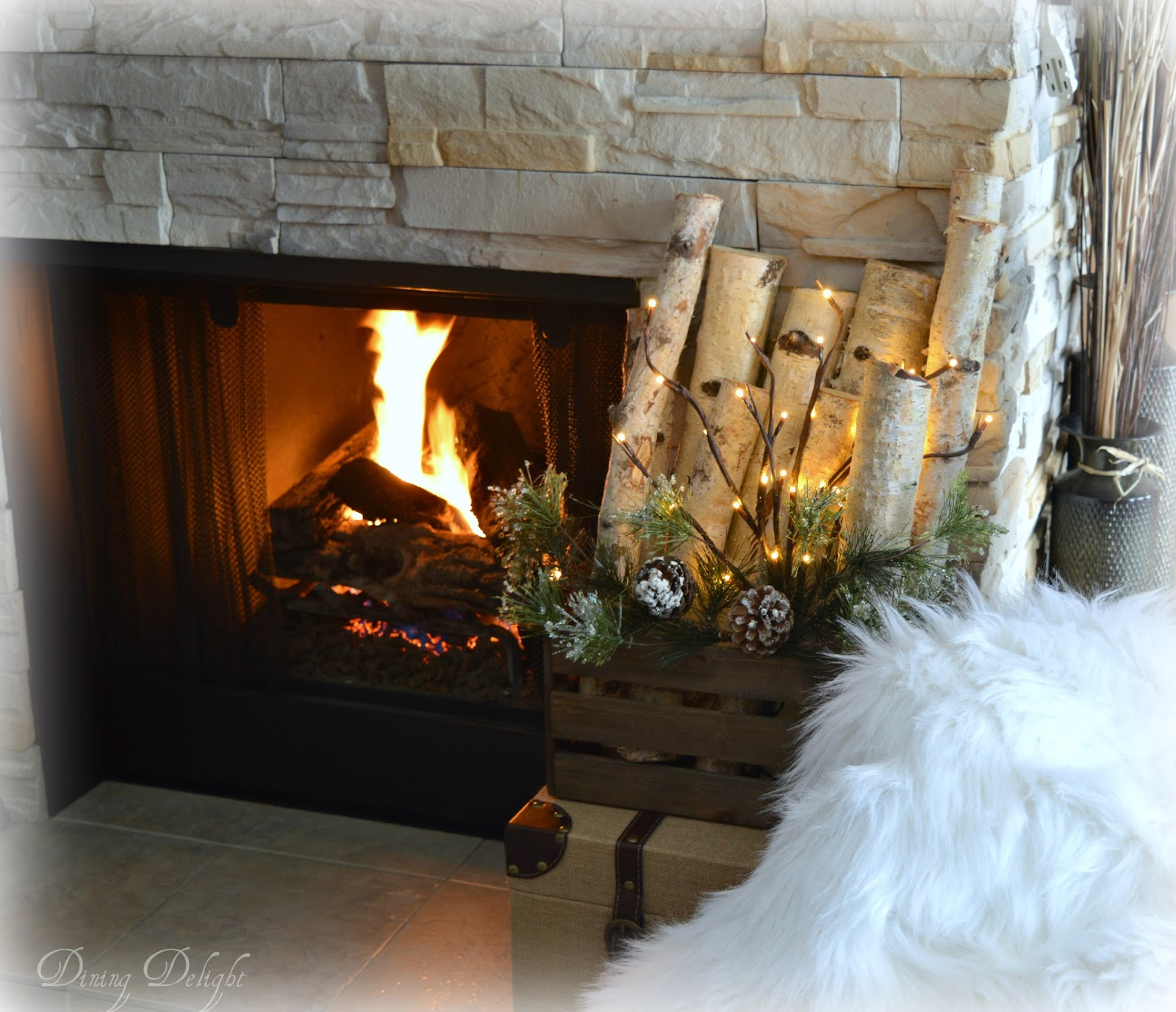 Dining Delight Ski Themed Winter Mantel