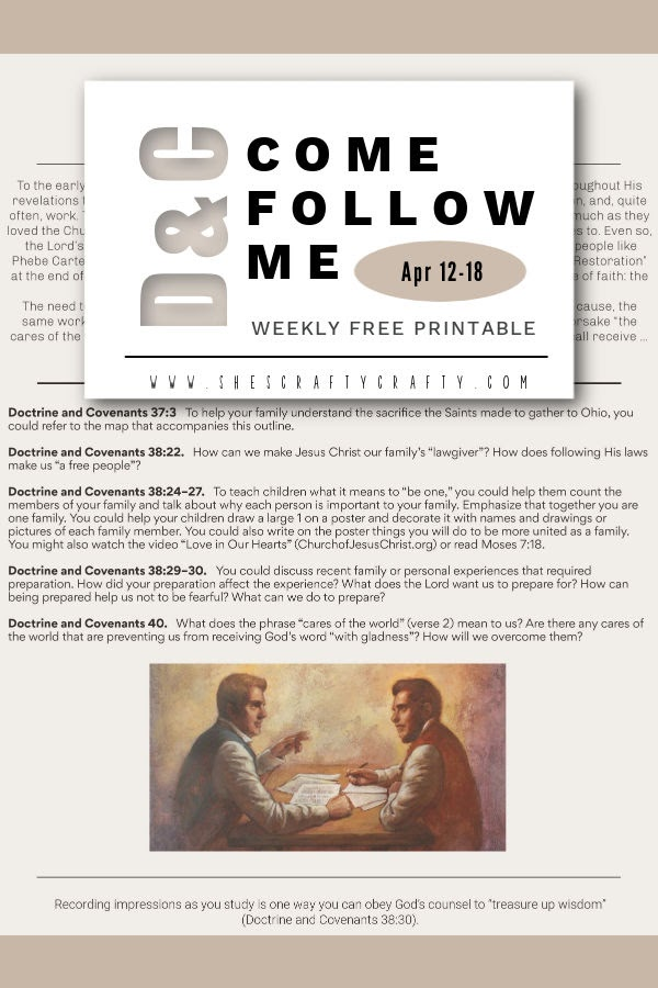 Pinterest Pin Come Follow Me Printable for Doctrine and Covenants  April 12-18