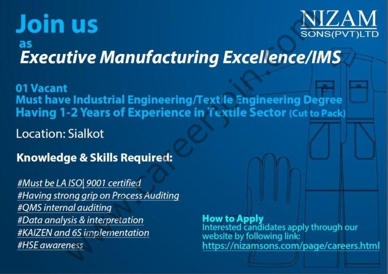 nizamsons.com Jobs 2021 - Nizam Sons Pvt Ltd Jobs 2021 in Pakistan