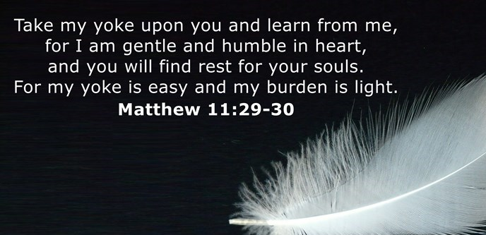 Take my yoke upon you and learn from me, for I am gentle and humble in heart, and you will find rest for your souls. For my yoke is easy and my burden is light.