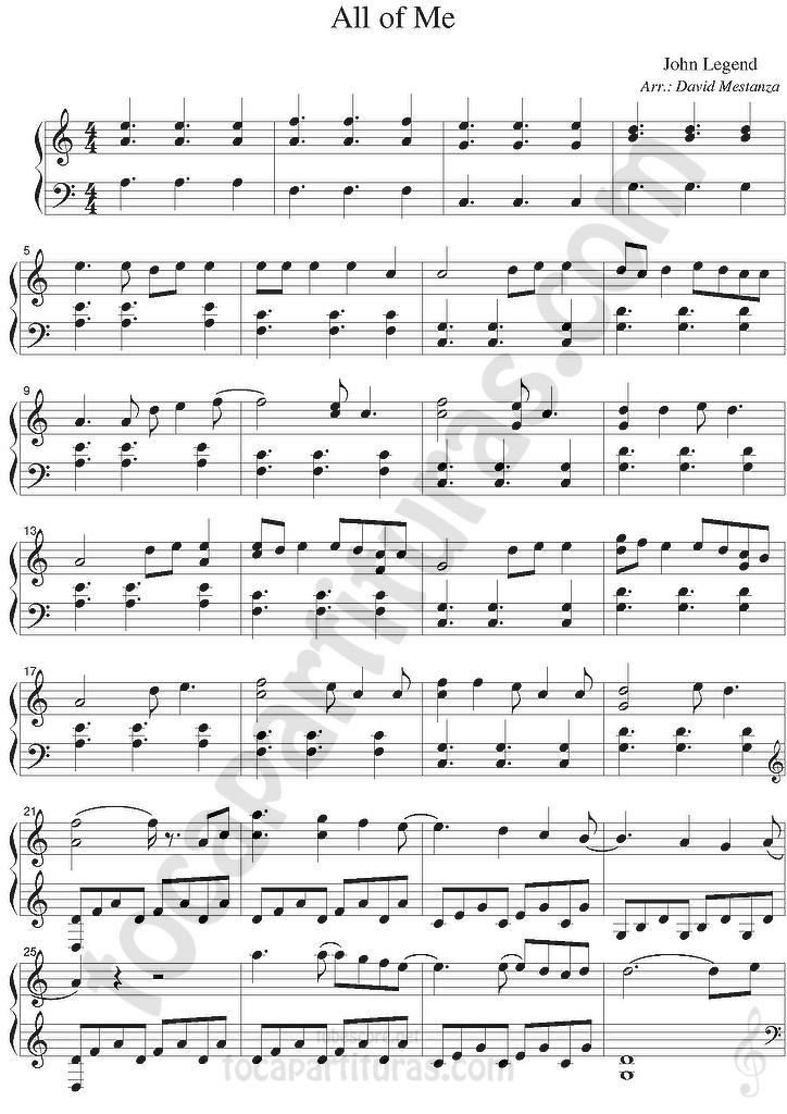 All Music Chords all of me sheet music : diegosax: All of Me de John Legend Partitura de Piano Fácil ...