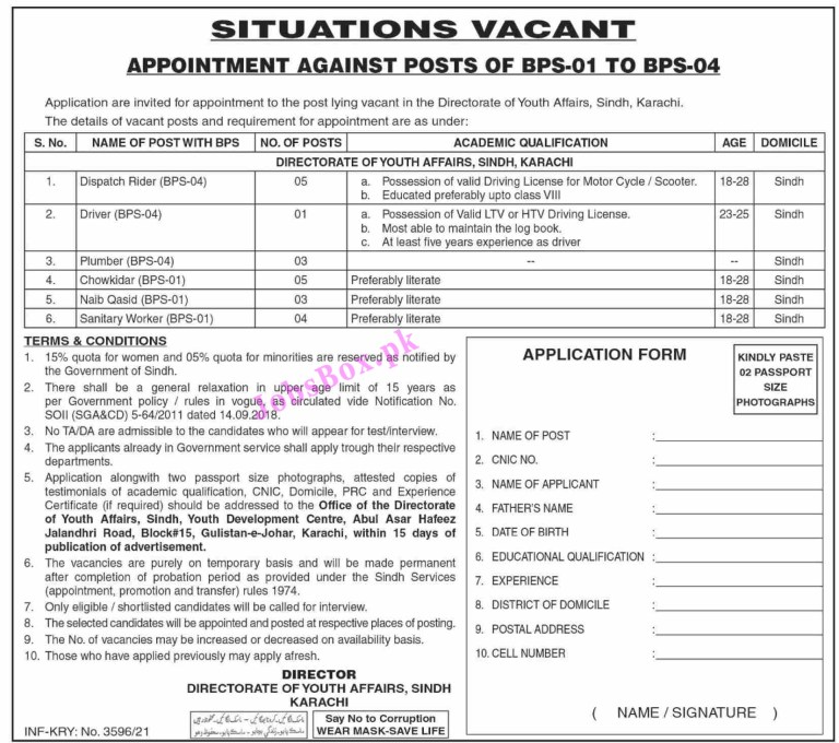Directorate of Youth Affairs Sindh Jobs 2021 in Pakistan