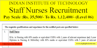 Staff Nurse Jobs in IIT Madras Aug 2021