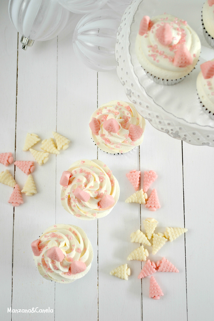Manzana Canela Pink Christmas Angel Food Cupcakes Con Crema De Nubes