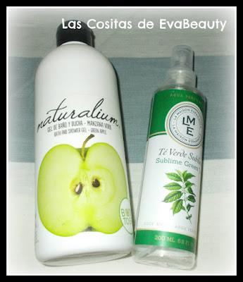 gel baño naturalium y spray corporal te verde