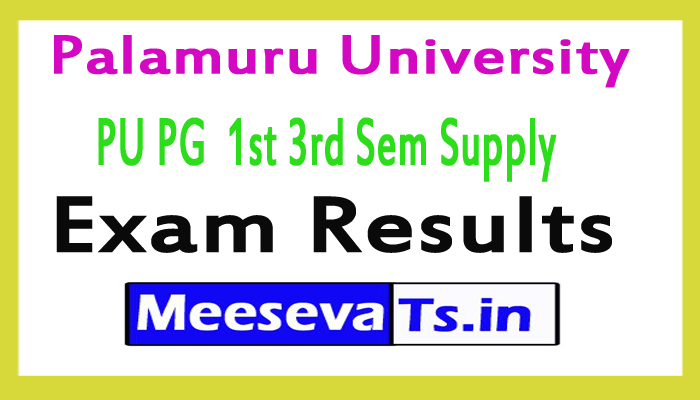 Palamuru University PU PG (MSc/MA/MCom/MSW) 1st 3rd Sem Supply Exam Results 2017