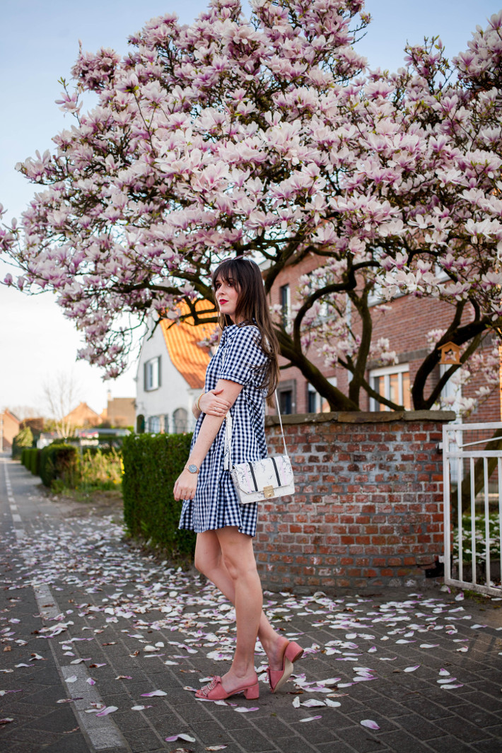 Outfit: gingham shirtdress and pink studded mules