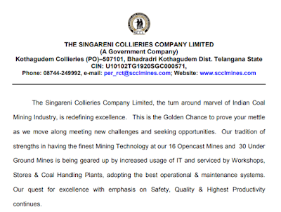 The Singareni Collieries Company Limited Recruitment 2017