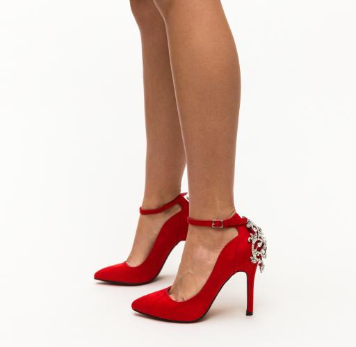 Pantofi rosii din oiele fina pentru coazii speciale cu brosa argintie