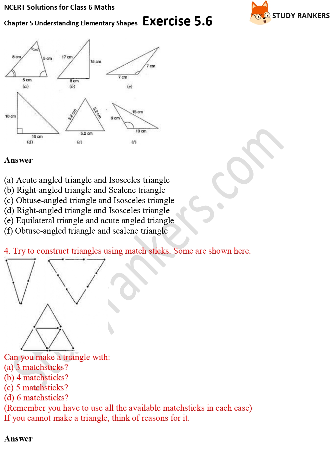 NCERT Solutions for Class 6 Maths Chapter 5 Understanding Elementary Shapes Exercise 5.6 Part 2