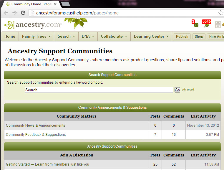 DearMYRTLE\u0027s Genealogy Blog Ancestry New Community Support Site - support ancestry com