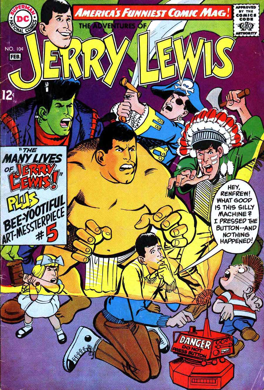 Adventures of Jerry Lewis v1 #104 - Neal Adams dc 1960s comic book cover art