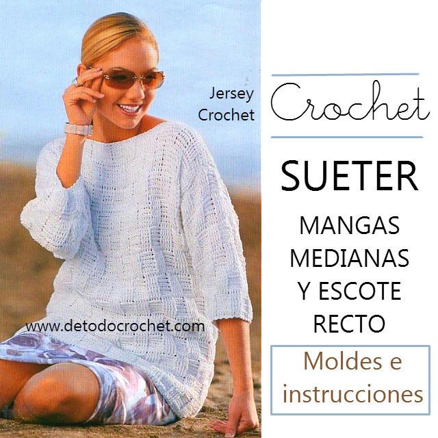 Suéter de Mangas Medias para Media Estación / Paso a paso Crochet ...