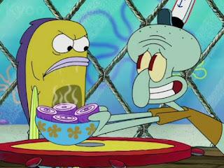 Polosan meme squidward menangis karena bawang merah