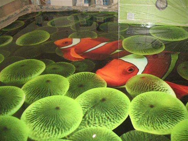 koi fish 3d flooring design for home, 3d ocean floor tiles