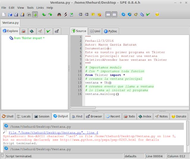 SPE con la ventana principal mostrando el código.