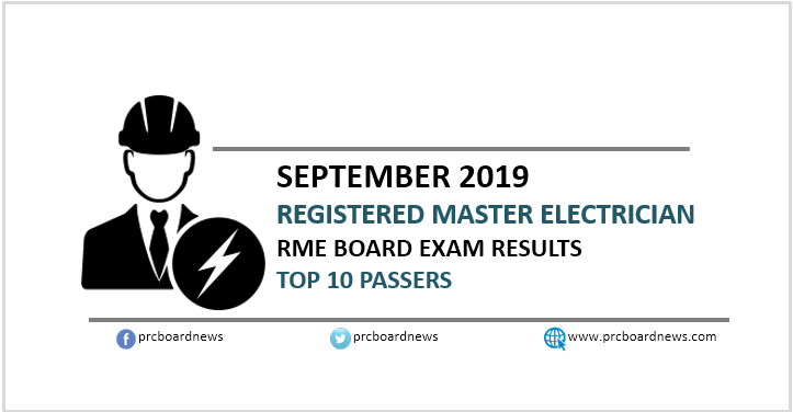 EE RESULT: September 2019 Registered Master Electrician RME board exam top 10