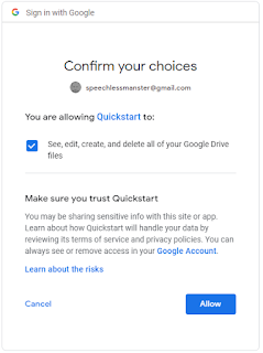 vb.net google drive api v3 OAuth 2.0 allow access