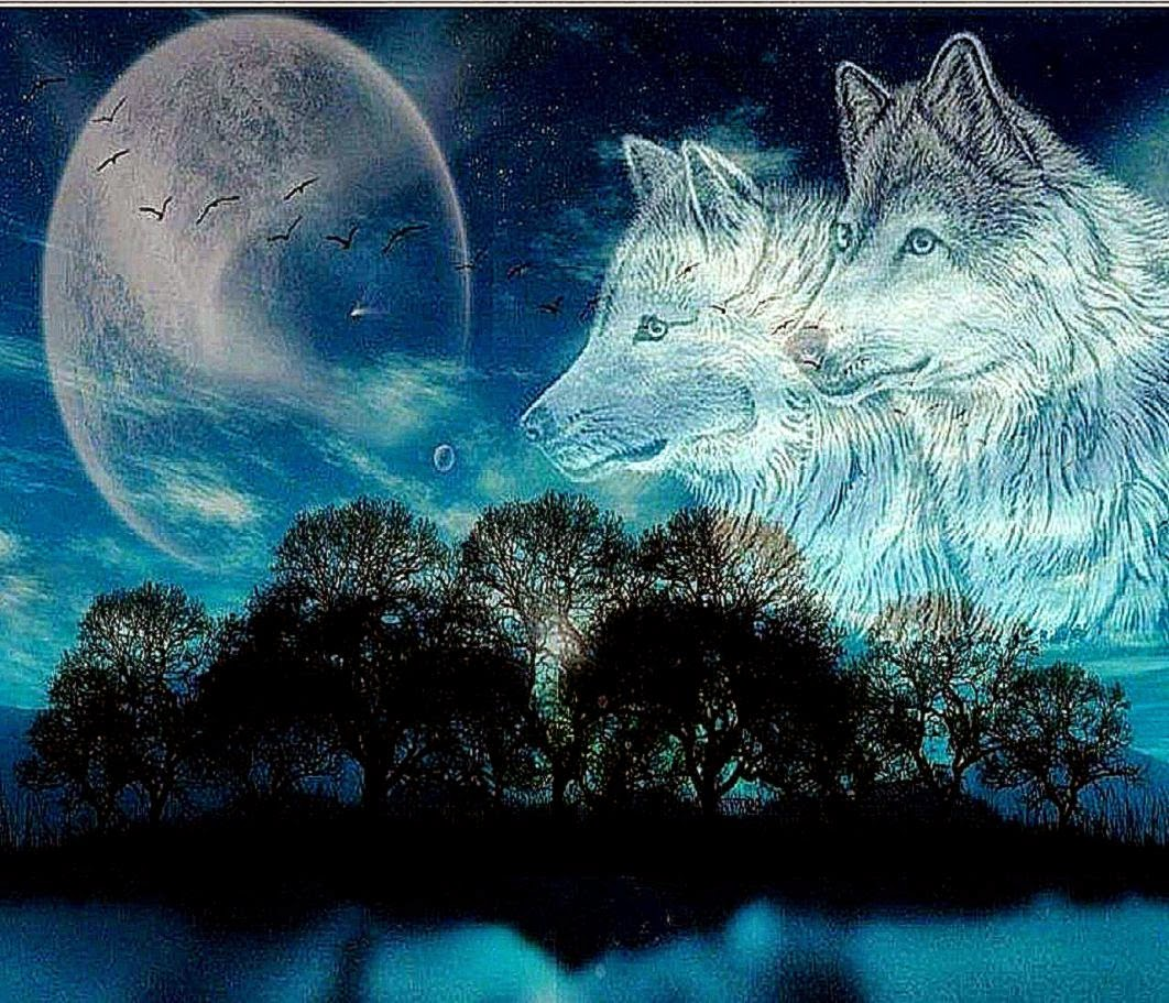 Moon Wolves Abstract Wallpaper Background Wallpaper Gallery