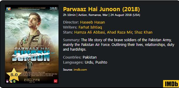 Download Parwaaz Hai Junoon (2018) Urdu 480p 720p 1080p DTHRip x264. This is an urdu movie and available in 480p, 720p & 1080p qualities.
