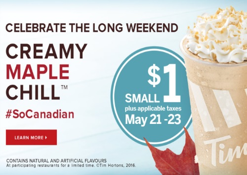 Tim Hortons Celebrate Long Weekend $1 Maple Chill
