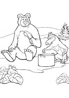 ציורים לצביעה מאשה והדוב