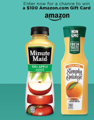 Minute Maid and Simply Beverages are giving you a juicy chance to enter for a chance to be one of over one hundred winners of $100 Amazon Gift Cards!