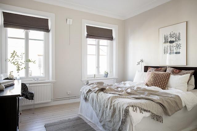 sypialnia w stylu skandynawskim,