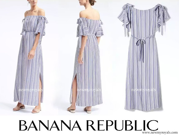 Crown Princess Elisabeth wore Banana-Republic Off-the-Shoulder Maxi Dress
