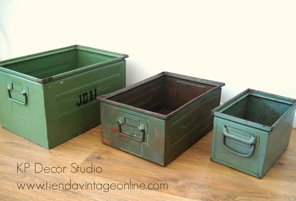 Comprar cajas metálicas estilo industrial color verde