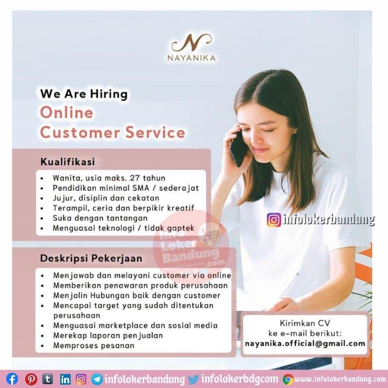 Lowongan Kerja Online Customer Service PT. Dhiya Maharani Couture (Nayanika) Bandung Juni 2021