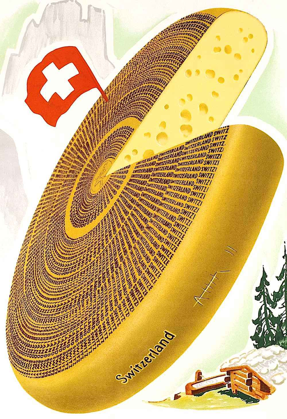 a 1948 poster of a giant wheel of cheese, Switzerland