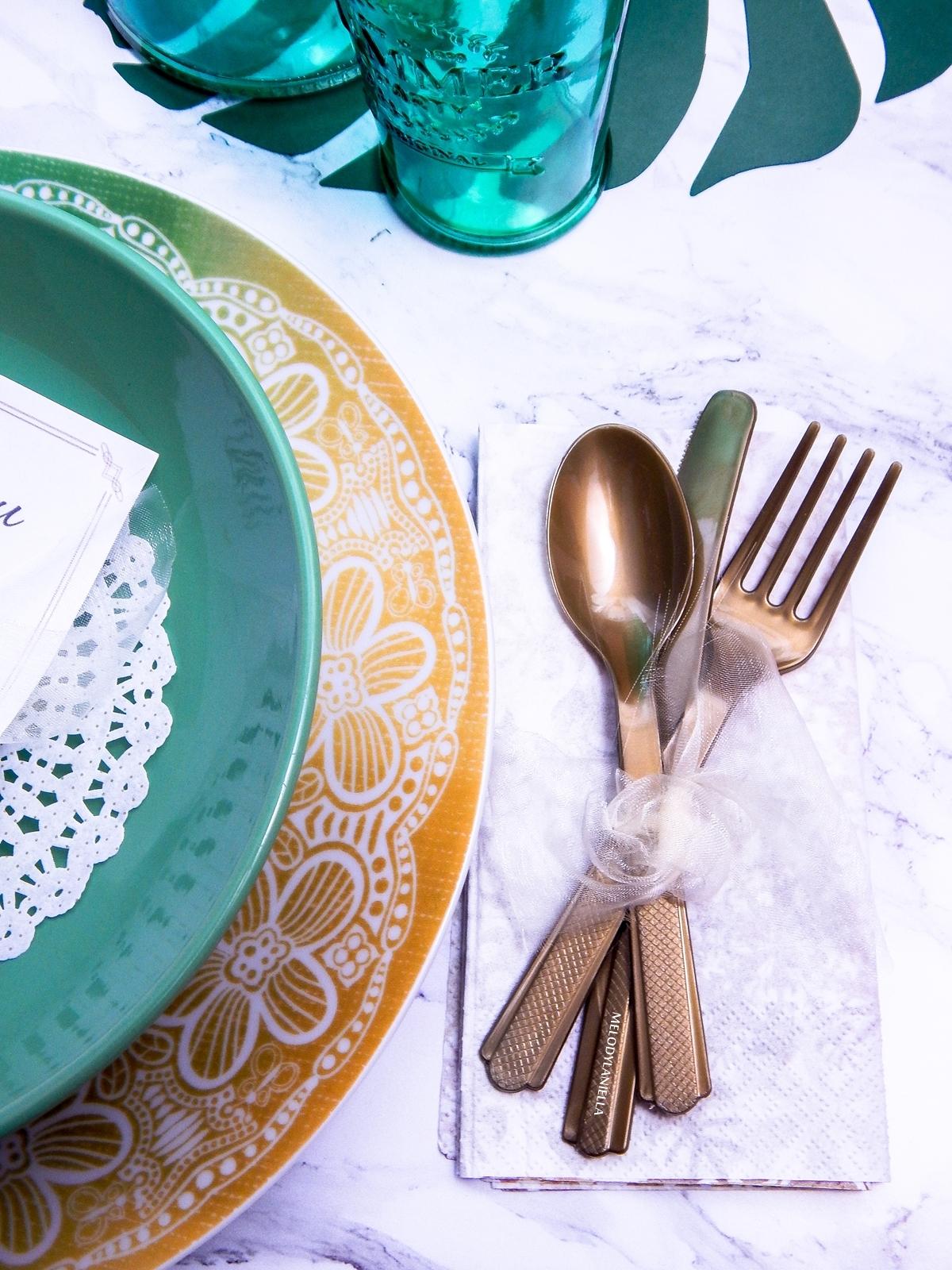5 marmurowy deseń dodatki do marmuru złote widelce łyżki noże, jak podać ładnie jedzenie przepisy lifestyle pinterest melodylaniella partybox duka