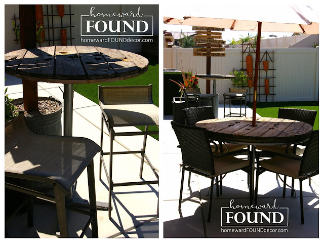 diy, decorating, home decor, outdoor furniture, furniture, tables, cable spool decor, use what you have, rustic, industrial, tables, junking, junk makeovers