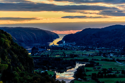 Sunset over Kvinesdal Norway