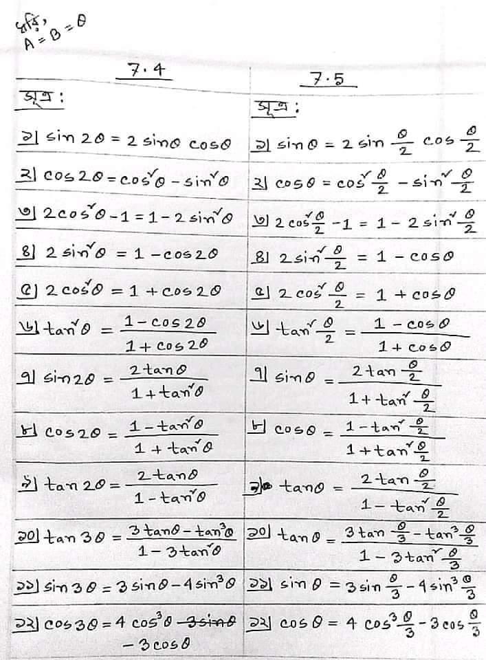 ত্রিকোণমিতির সূত্র hsc   ত্রিকোণমিতির সূত্র সমূহ hsc ত্রিকোণমিতির সূত্র সমূহ hsc pdf