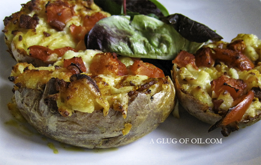 Over-Stuffed Cheesy Bacony Jacket Potatoes
