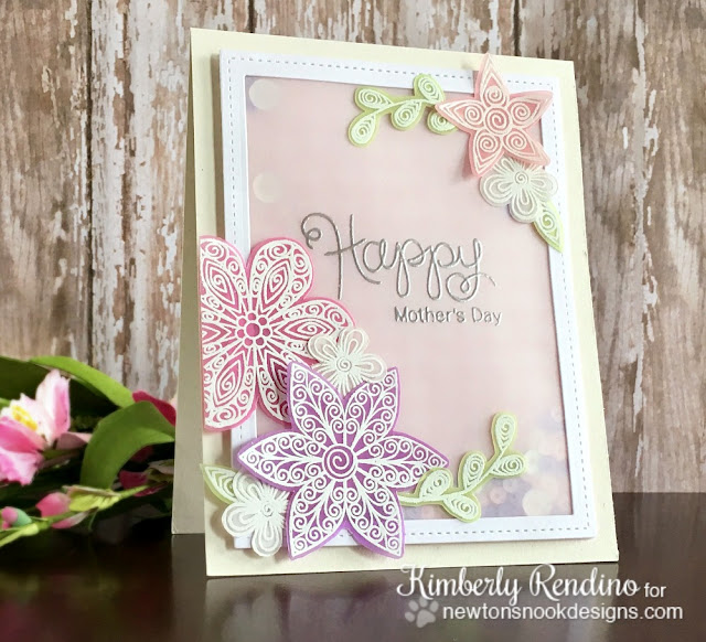newton's nook designs | mother's day | handmade card | vellum | shaker card | sequins | kimpletekreativity.blogspot.com