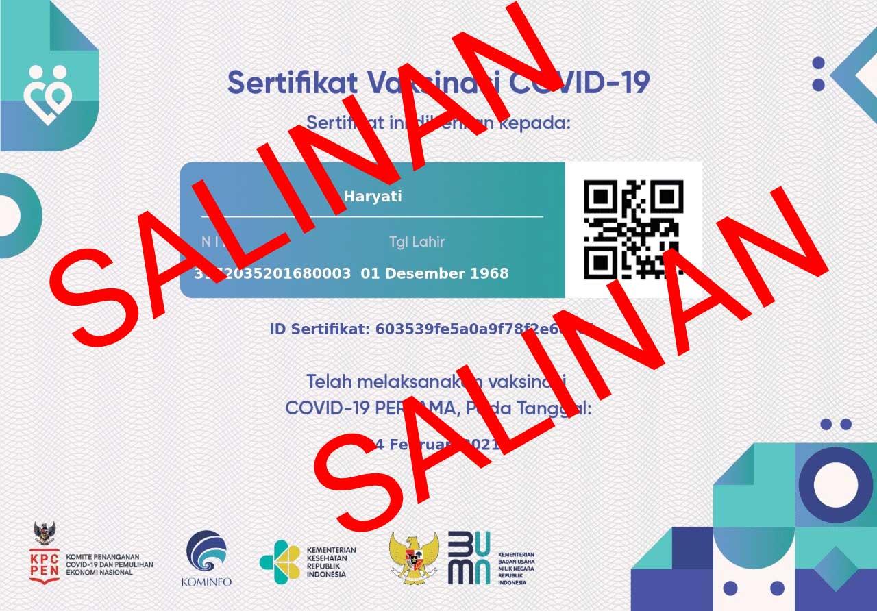 sertifikat sudah divaksin 2021